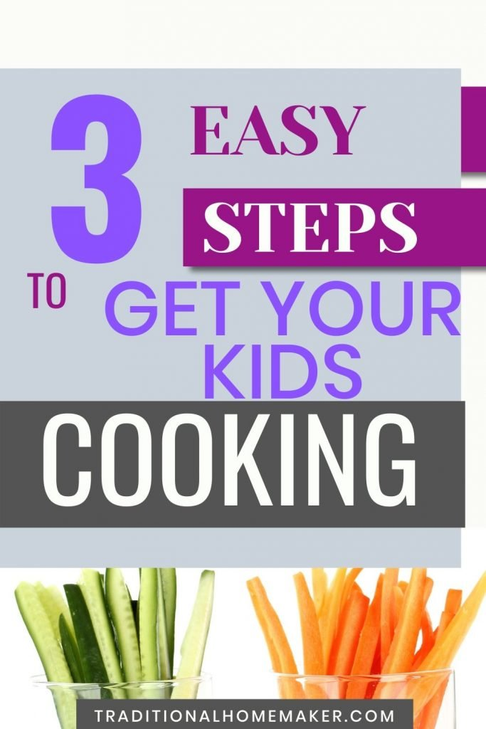 Use these three simple steps to get your kids helping in the kitchen at any age. Includes a free cheat sheet of ideas to get kids helping in the kitchen!