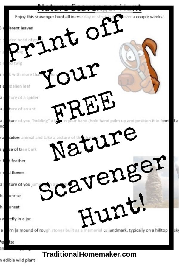 Free printable nature scavenger hunt for kids.